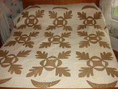 "Antique Applique Quilt Early Brown Leaves Hand Quilted Worn Cutter 66""X71"" 