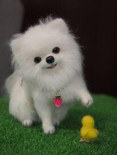 羊毛フェルト 犬 ポメラニアン  ハンドメイド - ヤフオク!