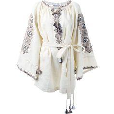 Vita Kin Embroidered Tasseled Dress (2,705 CAD) ❤ liked on Polyvore featuring dresses, white, tassle dress, white embroidery dress, linen dress, white dress and white linen dress