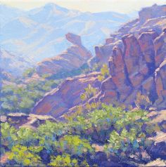 Part of the Vasquez Rocks series, this landscape Oil on deep edge canvas Part of the Vasquez Rocks series, this landscape painting depicts an afternoon vie… Fantasy Landscape, Landscape Art, Landscape Paintings, Art Paintings, California Native Plants, California Art, Stippling Art, Painter Artist, Scratchboard