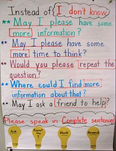 I get this answer alot. I think I'll make this chart so that we can be a little more creative and communicate a little more clearly. Awesome Ideas for Teachers,Classroom Management Ideas,Ed/tech,Everything Element Beginning Of School, First Day Of School, Middle School, High School, Future Classroom, School Classroom, Classroom Ideas, Classroom Norms, Classroom Organization