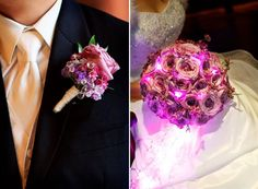 Disney theme wedding fairy tale wedding - purple bouquet and boutonniereWedding flowers and planning by Fascinare