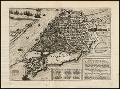 Antorff (Antwerp) - Finely engraved plan of Antwerp with a battle scene beyond its walls, engraved by Franz Hogenberg, from the 1588 edition of Michael Aitzinger's important early history of the Low Countries.