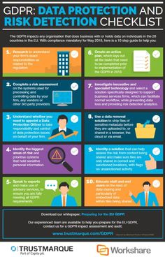 GDPR data protection and risk detection checklist infographic by Trustmarque - source large image and more information - Photopin Cyber Security Career, Cyber Security Awareness, Web Security, Security Training, Computer Security, Mobile Security, Computer Tips, Computer Crime, Computer Basics