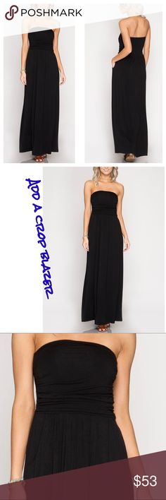 𗁷BLACK TUBE MAXI Gorgeous and luxuriously soft jersey knit tube maxi with pocket detail. Lined! All season staple can be worn solo or rock it with your favorite crop blazer, shrug, sweater or belted blazer. Nicely fitted band keeps your bosom in place𗁨Pair with boots for fall & winter! 70% cotton, 30% rayon; 100% poly lining. Comes in S M L. Waunda's Closet Dresses Maxi