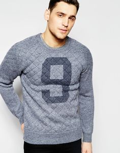 Scotch+&+Soda+Knitted+Crewneck+Pull+with+Quilted+Frontpanel+And+Shoulders