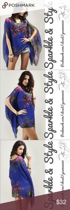 🆕✨💖Boho batwing sleeve blouse Flowing batwing sleeve chiffon blouse 💖Floral print 100% polyester fabric. Arms can be worn through elbow slits of a short sleeve look or kept inside for a long sleeve look. Sparkle & Style Tops