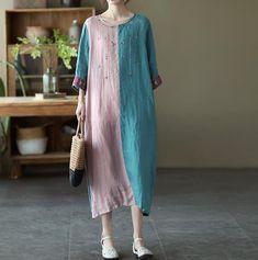 linen summer dress, retro dresses, long dress, cocktail dress, Linen dress with pockets, Prom dress