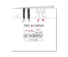 faire part mariage illustration papa et maman Planets, Invitations, Wedding, Deco, Wedding Illustration, Mom, Cards, Children, Mom And Dad