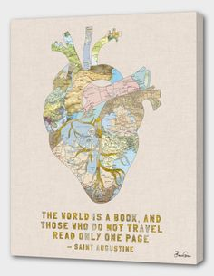 «Travelers Heart + Quote», Numbered Edition Fine Art Print by Bianca Green - From $49.00 - Curioos