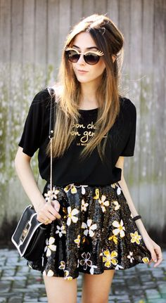 Bw & Gold Floral Sequin Skirt