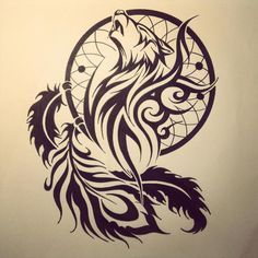tribal wolf dreamcatcher tattoo - Google Search