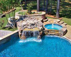 Rock Waterfall built by Blue Haven Pools Atlanta.