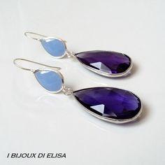 Orecchini con cristalli turchi viola e azzurro-grigio, by I bijoux di Elisa, 24,00 € su misshobby.com