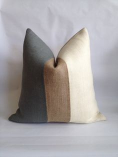 pillows Gray, Natural and Cream Burlap Vertical Stripe Pillow Cover Brown And Cream Living Room, Cream Living Rooms, Living Room Grey, Living Room Sofa, Living Room Furniture, Brown Pillows, Large Pillows, Sofa Pillows, Buy Pillows