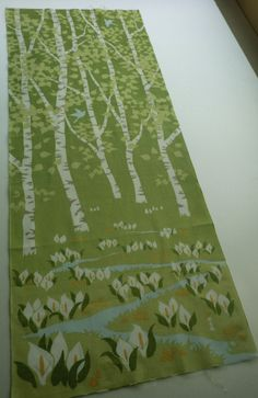 Japan Tenugui fabric green trees, Japanese towel fabric, cute fabric, tenugui, kawaii fabric, tea towell Japanese fabric