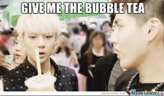 That moment when you see someone else drinking bubble tea.... Sehun understands.