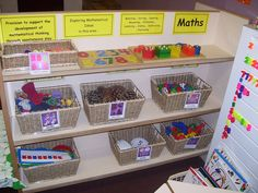 Maths area with a variety of manipulatives.