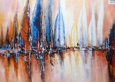 "Modrest Abstract Sailboats Oil Painting VGSHD-ADD0394 Product : 71854 Dimension: - Painting: W47"" x H35"