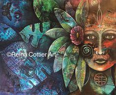 Native Goddess Unify , Original Painting by Reina Cottier. New Zealand Artist.
