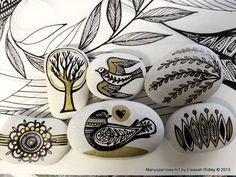 painted stones and clay by manysparrows art (4)per previous pinner.
