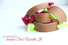 Stamped leather bracelets. I want to try stamping leather!