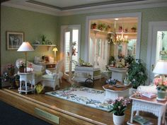 A charming living room & dining area miniature scene