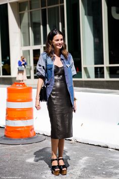 NYFW-New_York_Fashion_Week_Spring_Summer_2014-Street_Style-Say_Cheese-Collage_Vintage-Leather_Dress.jpg (790×1185)