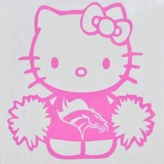 Hello Kitty Bow Broncos Car Decal Broncos Girl By