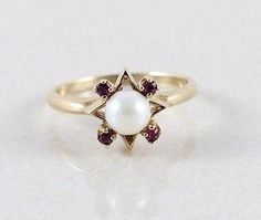 10k-Solid-Yellow-Gold-Natural-Pearl-and-Ruby-Ring-Size-7-3-4