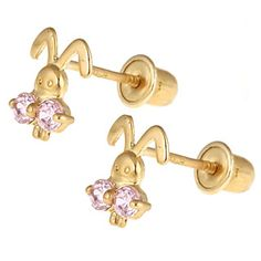 Pink CZ Bunny Screw Back Earrings for Kids in 14K Gold from www.thejewelryvine.com