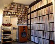 Batch 1453 / Office Listening Room / CD display, Vinyl record display, music library perfect for a listening party. Lps, Cd Storage, Vinyl Storage, Storage Ideas, Storage Solutions, Vinyl Record Storage Furniture, Home Music, Vinyl Room, Vinyl Record Collection