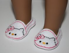 18 inch Doll Shoes Kitty on White Felt Easy Slip by FrogBlossoms, $4.50