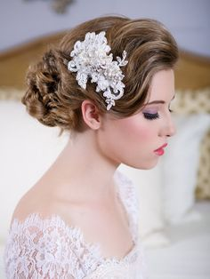 Ideas for @Katie Hrubec Scanlan   SALE Crystal Lace Headpiece Wedding Headpiece by GildedShadows, $144.00