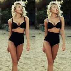 Women Sexy Retro Two Pieces Bikini Set Push-up Padded Strap High Waist Solid Swimwear Beach Wear Swimsuit $5.98