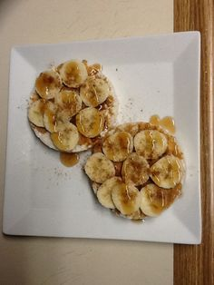 330 cals / 9 g Protein - 2 whole grain rice cakes w/ 2 tbsp natural peanut butter, 1/2 banana, & lite maple syrup drizzle w/ cinnamon