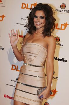 Cheryl Cole Mid-Length Messy Volume Hair & Nude Strepless Herve Leger Dress
