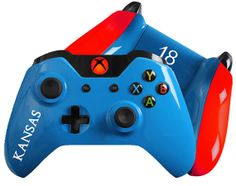March Madness inspired Custom Xbox One Controller - Jayhawks KS #xboxone #customcontrollers #moddedcontrollers #marchmadness #basketball
