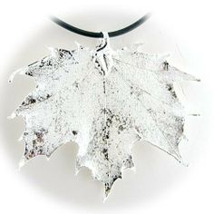 Silver Plated Sugar Maple Real Leaf Pendant Rubber Cord Necklace 18 Inch Pendants by Joyful Creations. $17.99. Save 58%!