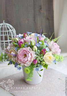 """Купить Интерьерная композиция """"Mazzo di fiori""""-2. Флористическая глина. - розовый, композиция из цветов"""