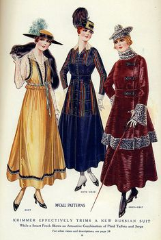 "November 1915 fashion    ""Krimmer Effectively trims a new russian suit    While a smart frock shows an attractive Combination of plaid taffeta and serge""  via Soyouthinkyoucansee         From the November 1915 issue of McCall's magazine."