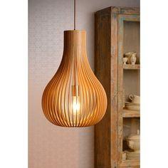 Drewniana lampa wisząca Bodo marki Lucide. http://blowupdesign.pl/pl/31-wiszace-stojace-lampy-drewniane-design-skandynawski #lampydrewniane #lampywiszące #woodenlamps #lightingstore