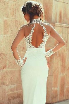 High Neckline Sheath Wedding Dresses With Beaded Lace Appliques-Pgmdress