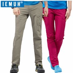 IEMUH Men Women Sport Outdoor Pants Waterproof Quick Dry Pants Hiking Breathable Coolmax Pants Running Camping Climbing Pants