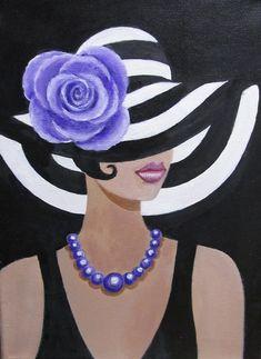Impression sur toile 'Dame dans un chapeau rayé' par Dian Bernardo Art Pop, Paint And Sip, Black Women Art, Paint Party, African Art, Painting Inspiration, Female Art, Painted Rocks, Painting & Drawing
