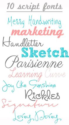 Why not enjoy ten free downloadable script hand writing fonts - LOVE IT!