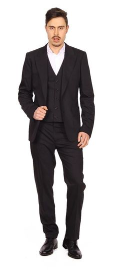 Dolce & Gabbana Men's Suit with Gilet BLACK #DolceGabbana #DoubleBreasted