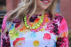 Layered Neon Necklaces + Prabal Gurung for Target Tee