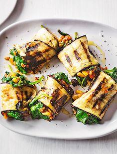 Spiced Spinach & Tomato Aubergine Rolls