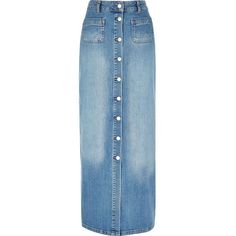 River Island Blue denim button-up maxi skirt ($76) ❤ liked on Polyvore featuring skirts, blue skirt, button down denim skirt, floor length skirt, long skirts and floor length denim skirt
